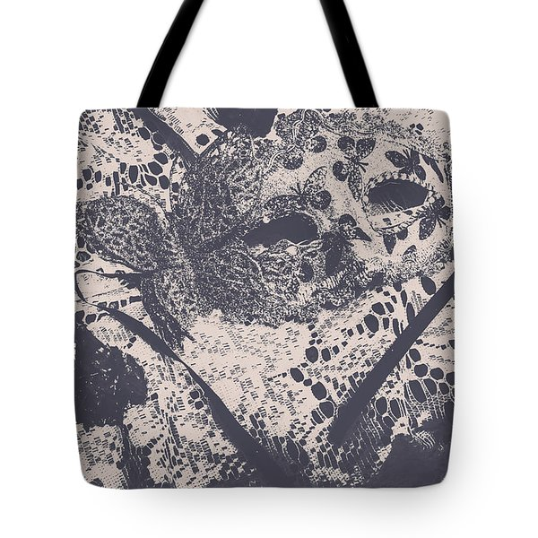 Venetian Ball Room Mask Next To Wilted Flowers Tote Bag