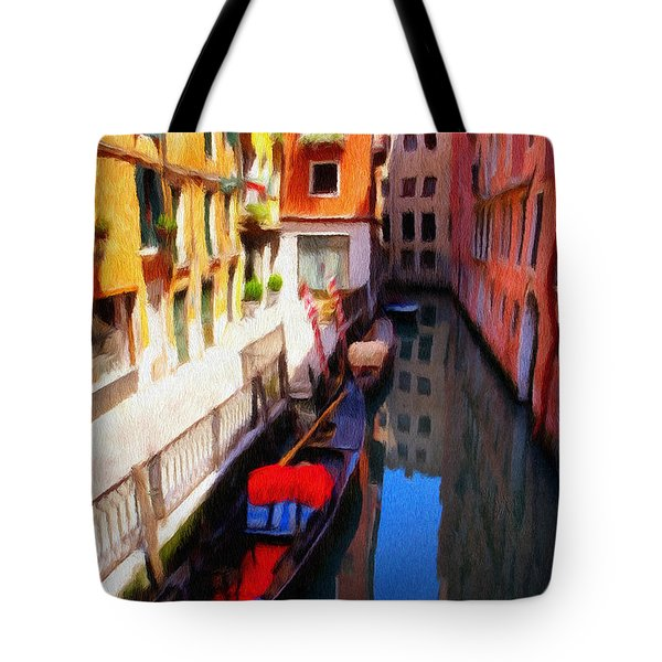 Tote Bag featuring the painting Venetian Canal by Jeffrey Kolker