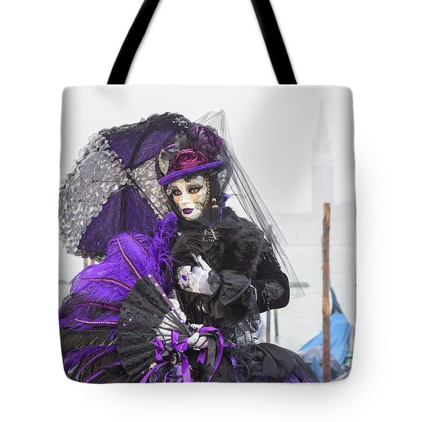 Venetian Lady In Purple Tote Bag