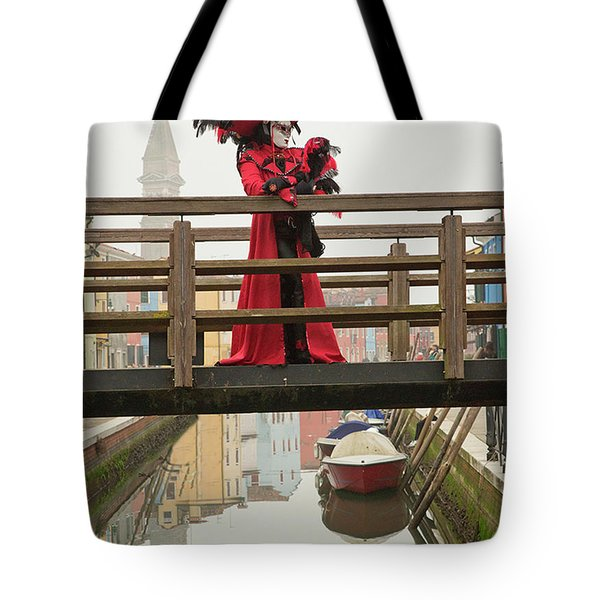 Venetian Lady On Bridge In Burano Tote Bag