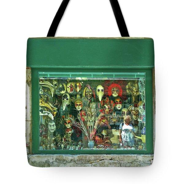 Tote Bag featuring the photograph Venetian Masks by Anne Kotan