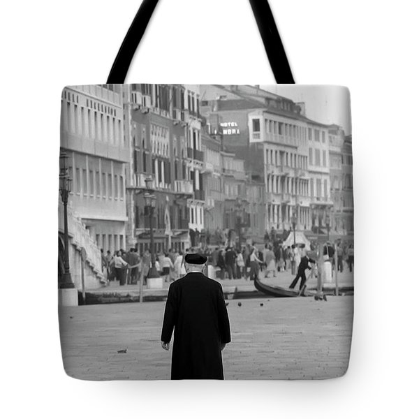 Tote Bag featuring the photograph Venetian Priest And Gondola by KG Thienemann