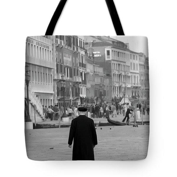 Venetian Priest And Gondola Tote Bag by KG Thienemann