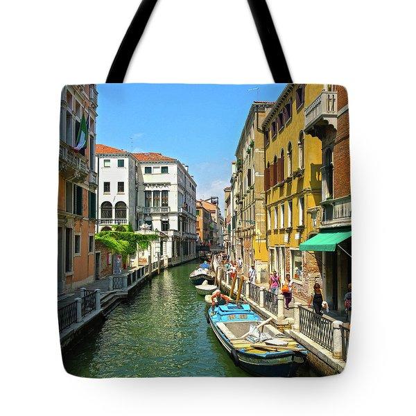 Tote Bag featuring the photograph Venetian Sunshine by Anne Kotan