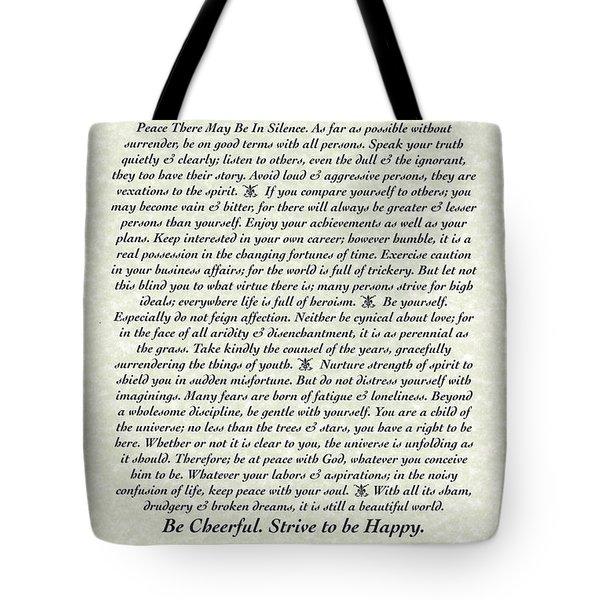 Venezio Style Desiderata Poem Tote Bag