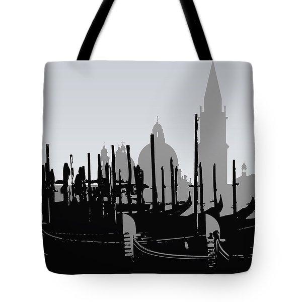 Venice Black And White Tote Bag
