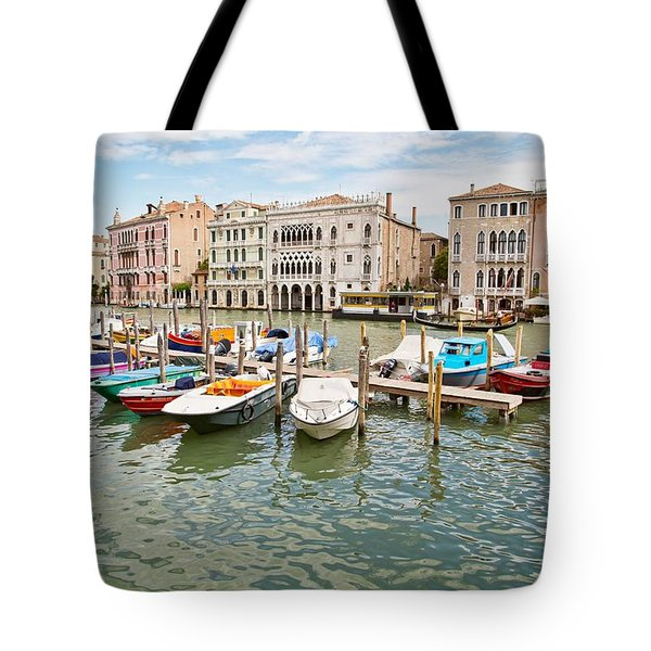 Venice Boats Tote Bag by Sharon Jones