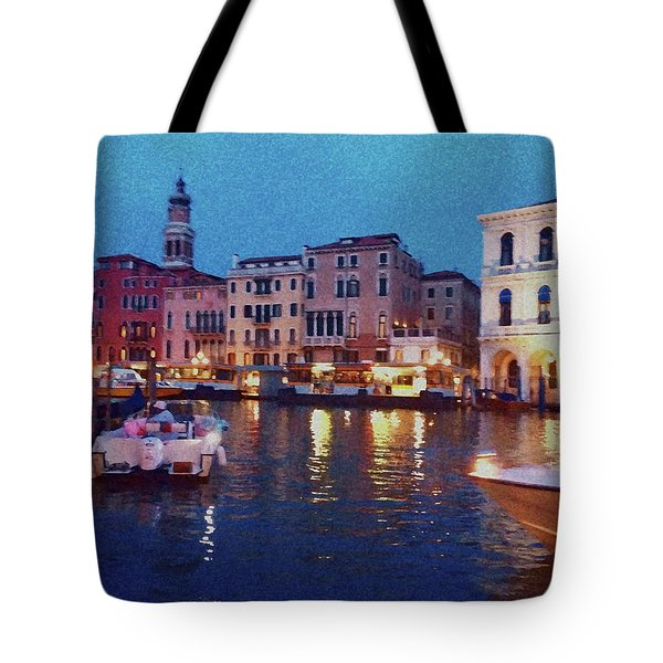 Tote Bag featuring the photograph Venice By Night by Anne Kotan