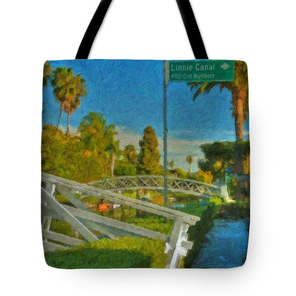 Tote Bag featuring the photograph Venice Canal Bridge Signs by David Zanzinger