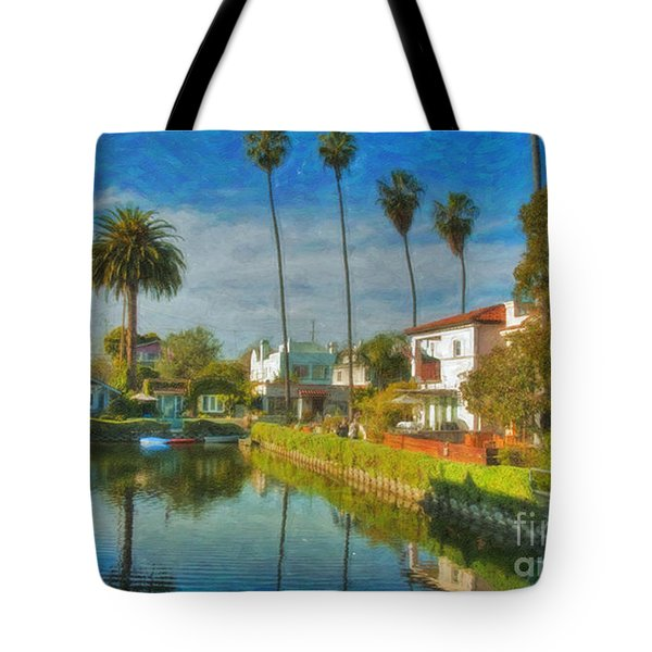 Tote Bag featuring the photograph Venice Canal Houses Watercolor  by David Zanzinger