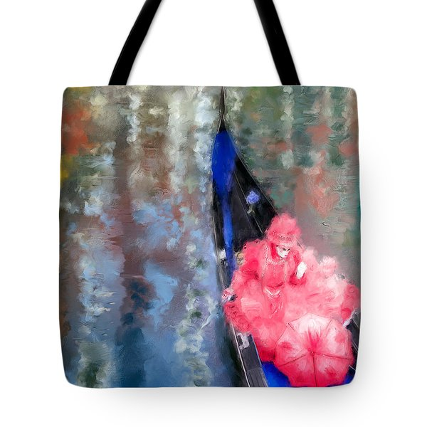 Venice Carnival. Masked Woman In A Gondola Tote Bag
