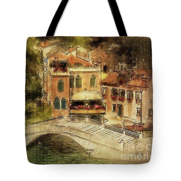 Venice City Of Bridges Tote Bag by Lois Bryan