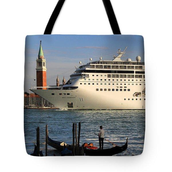 Venice Cruise Ship 2 Tote Bag by Andrew Fare