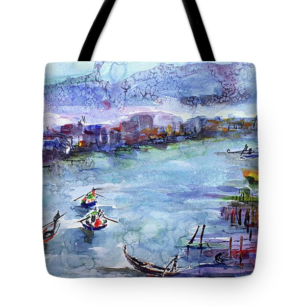 Venice Festivities Travel Italy Watercolor And Ink Tote Bag