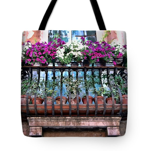 Tote Bag featuring the photograph Venice Flower Balcony by Allen Beatty