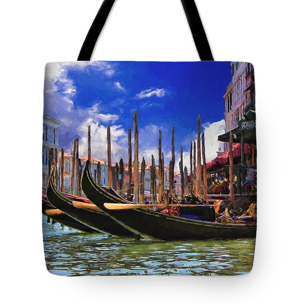 Venice Gondolas Tote Bag by Ron Grafe