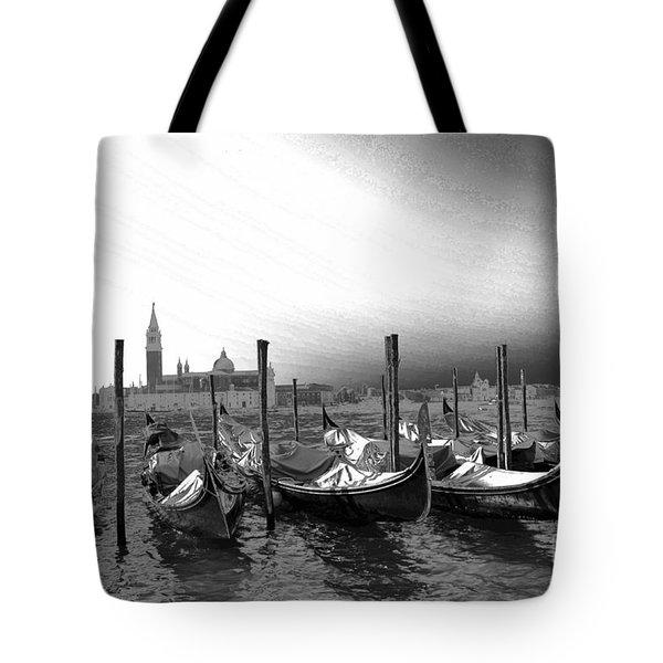 Venice Gondolas Black And White Tote Bag by Rebecca Margraf