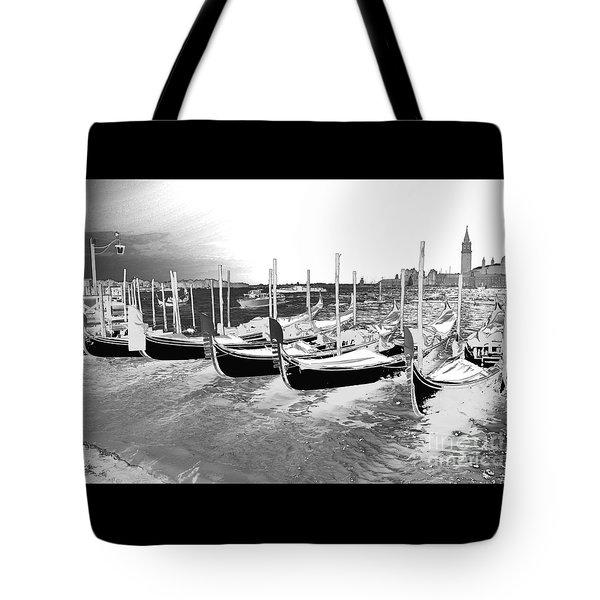 Venice Gondolas Silver Tote Bag by Rebecca Margraf