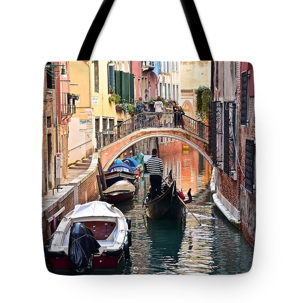Venice Gondolier Tote Bag by Frozen in Time Fine Art Photography