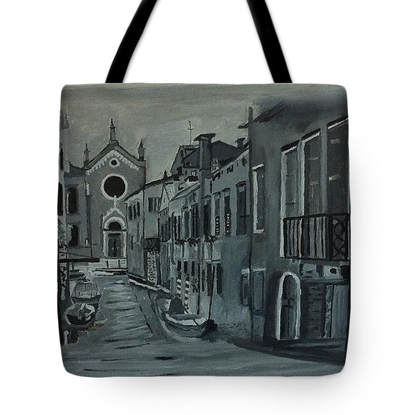 Venice In Grey And White Tote Bag by Rod Jellison
