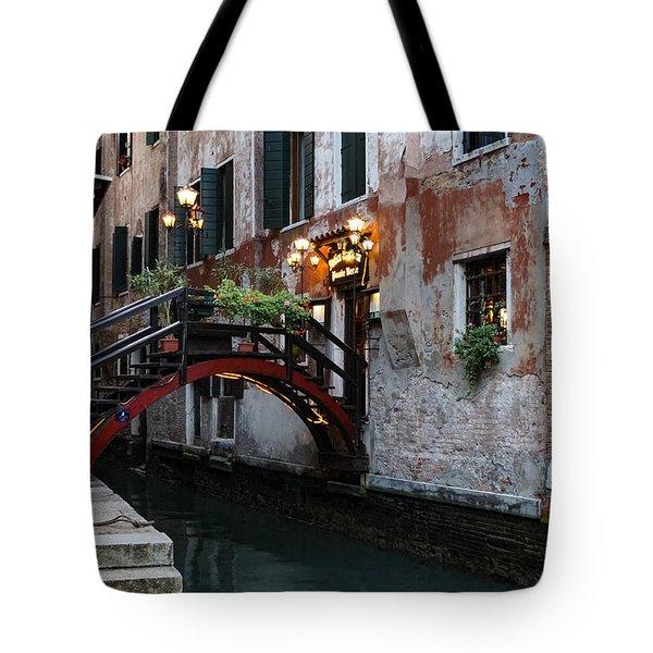 Venice Italy - The Cheerful Christmassy Restaurant Entrance Bridge Tote Bag