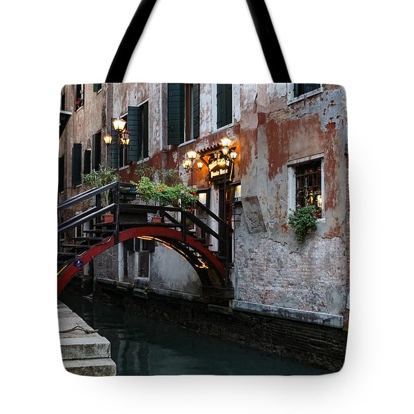 Venice Italy - The Cheerful Christmassy Restaurant Entrance Bridge Tote Bag