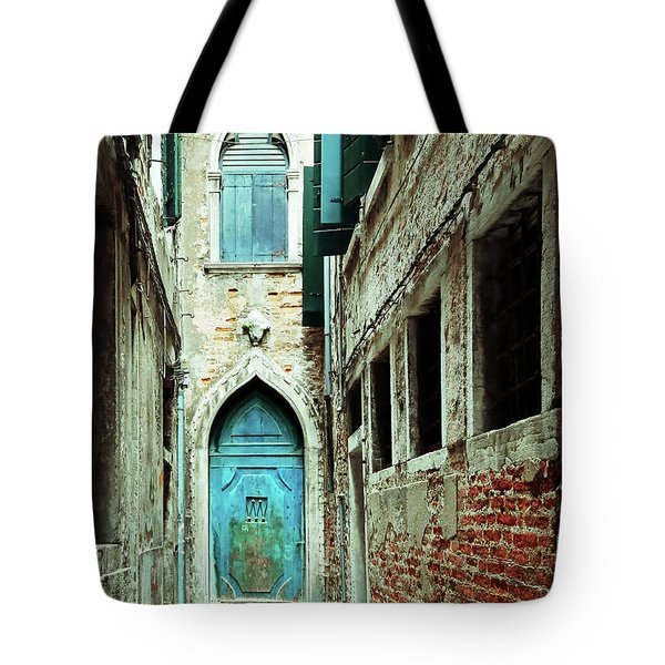 Venice Italy Turquoise Blue Door  Tote Bag