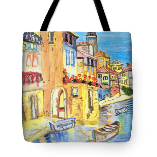 Tote Bag featuring the painting Venice On A Summer Afternoon by Connie Valasco