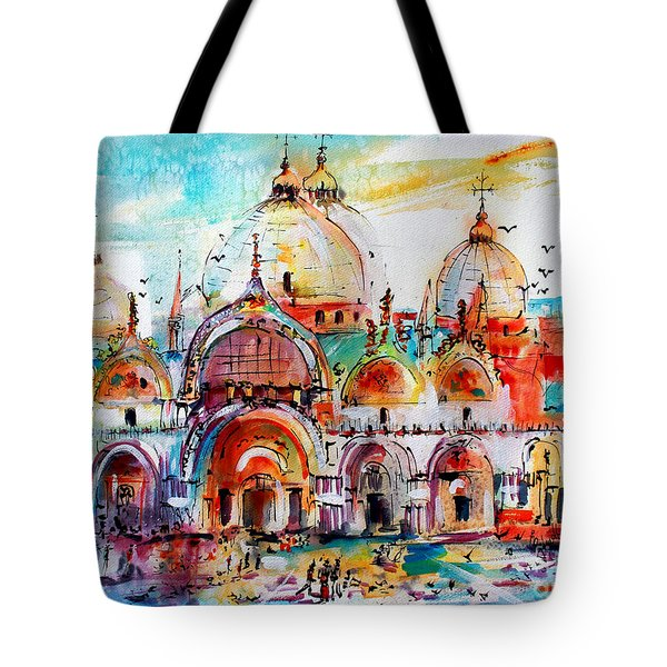 Venice Piazza Saint Marco Basilica Tote Bag by Ginette Callaway
