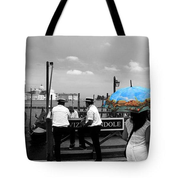 Tote Bag featuring the photograph Venice Umbrella by Andrew Fare