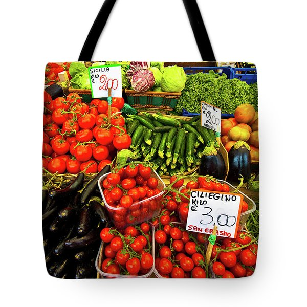 Tote Bag featuring the photograph Venice Vegetable Market by Harry Spitz