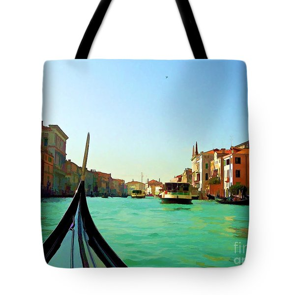 Tote Bag featuring the photograph Venice Waterway by Roberta Byram