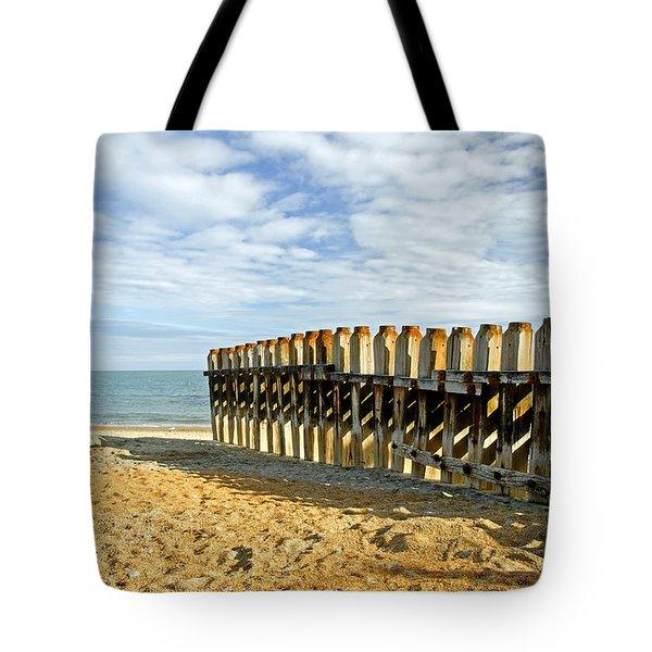 Ventnor Beach Groyne Tote Bag by Rod Johnson