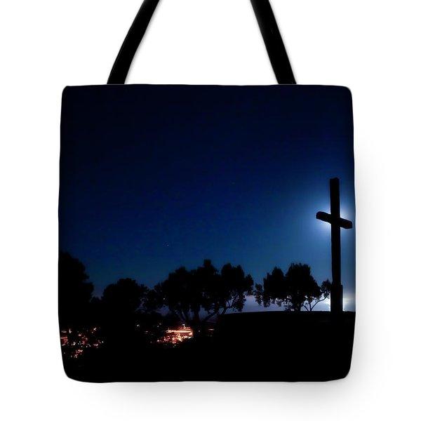 Ventura Ca Cross At Moonset Tote Bag