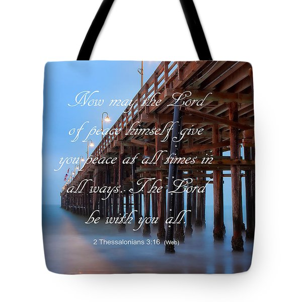 Tote Bag featuring the photograph Ventura Ca Pier With Bible Verse by John A Rodriguez