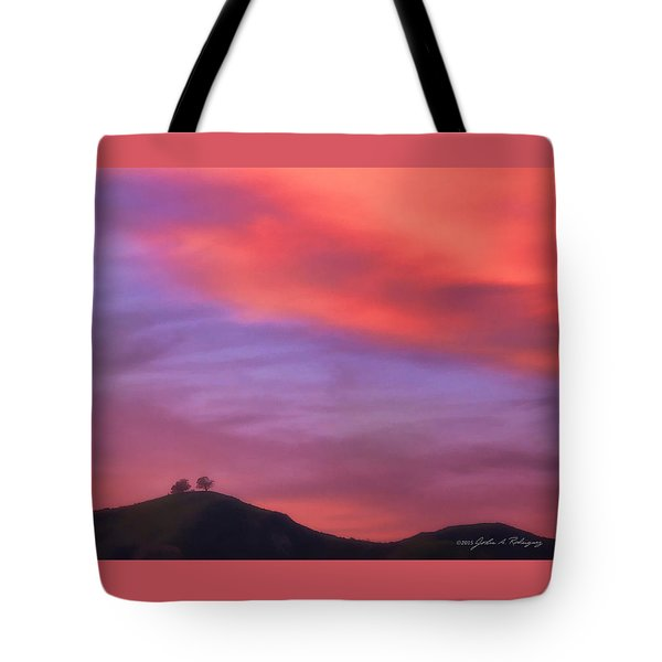 Tote Bag featuring the photograph Ventura Ca Two Trees At Sunset by John A Rodriguez