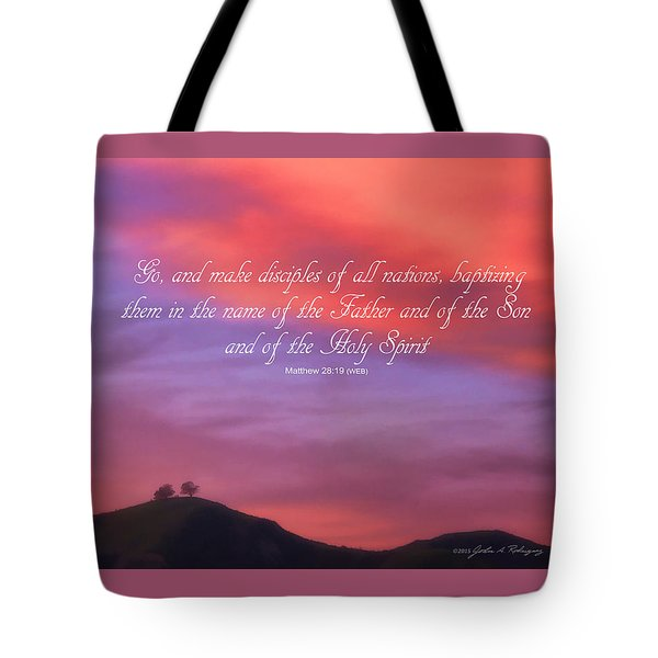 Tote Bag featuring the photograph Ventura Ca Two Trees At Sunset With Bible Verse by John A Rodriguez
