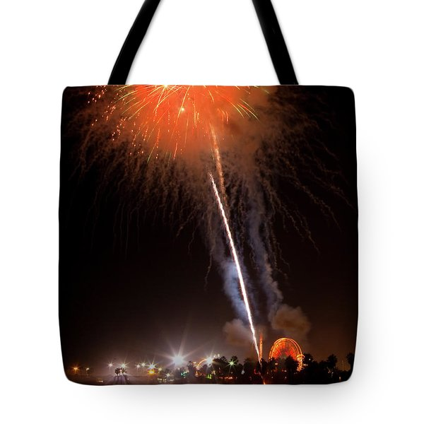 Tote Bag featuring the photograph Ventura California Fair Fireworks by John A Rodriguez