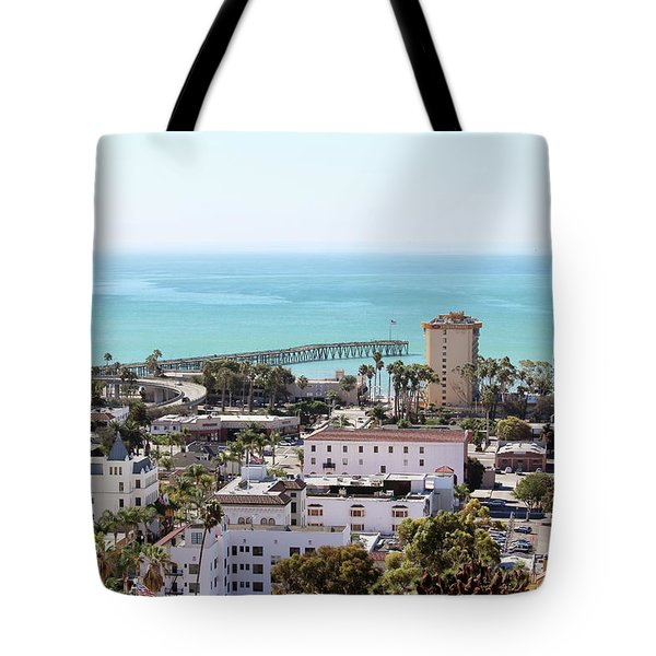 Ventura Coastal View Tote Bag by Art Block Collections