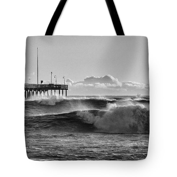 Tote Bag featuring the photograph Ventura Pier El Nino 2016 by John A Rodriguez
