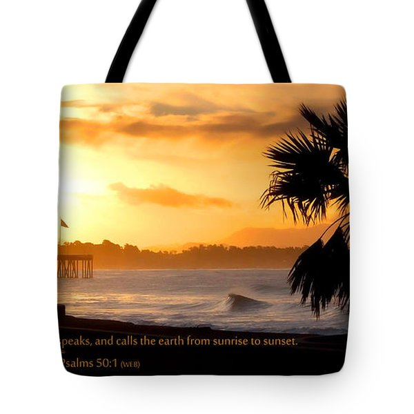 Tote Bag featuring the photograph Ventura California Sunrise With Bible Verse by John A Rodriguez