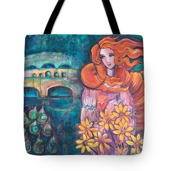Tote Bag featuring the painting Venus And Sunflowers by Laurie Maves ART
