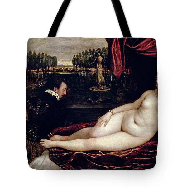 Venus And The Organist Tote Bag by Titian