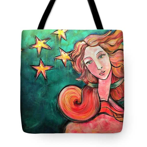 Tote Bag featuring the painting Venus Of The Stars by Laurie Maves ART