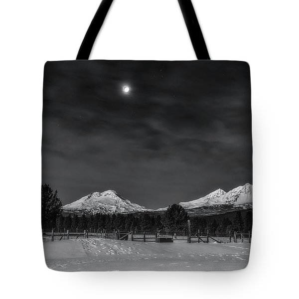 Tote Bag featuring the photograph Venus Over Three Sisters by Cat Connor