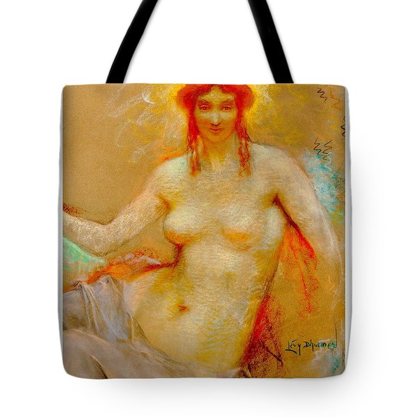 Tote Bag featuring the pastel Venus Pastel Lucien Levy Dhurmer 1915 by Peter Gumaer Ogden