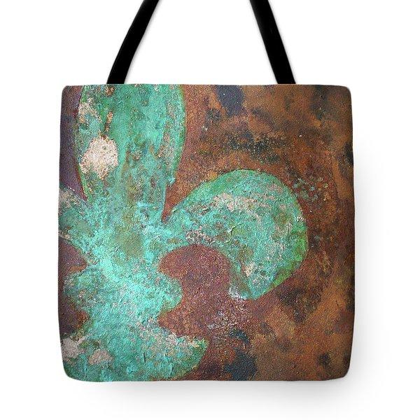 Verdigris Copper Iron Tote Bag by Maria Boudreaux