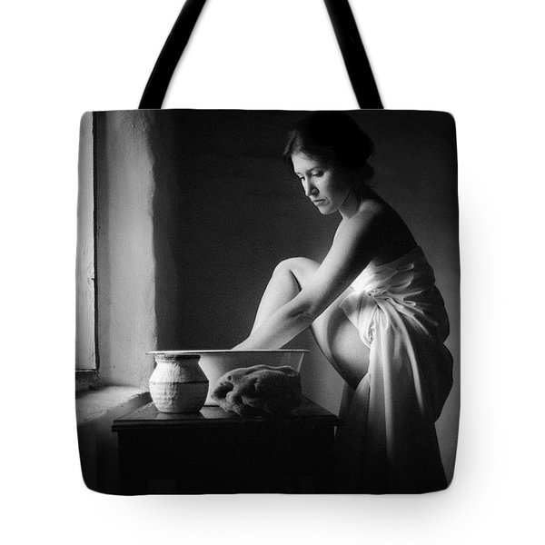 Tote Bag featuring the photograph Vermeer Footwasher by Jennifer Wright