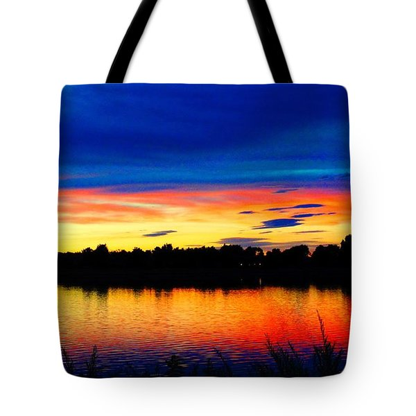 Tote Bag featuring the photograph Vermillion Sunset by Eric Dee