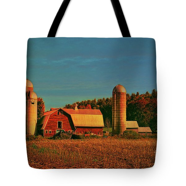 Tote Bag featuring the photograph Vermont Autumn Barn by Deborah Benoit